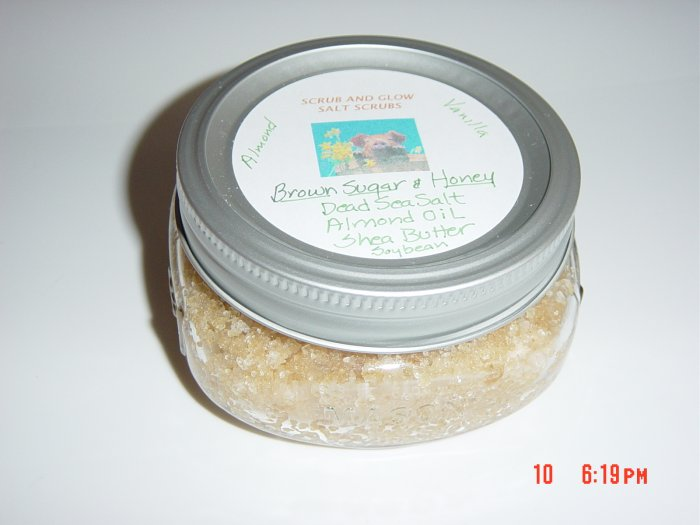 BROWN SUGAR AND HONEY SCRUB AND GLOW DEAD SEA SALT SCRUB, 8 OZ. JAR