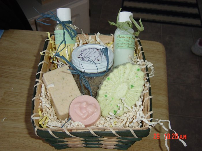 GIFT BASKET/baskets WITH HANDMADE SOAPS AND SALTS - 5 ITEMS YOUR CHOICE