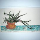 Hand colored woodcut Healing Plant Iseja signed numbered matted AL1018