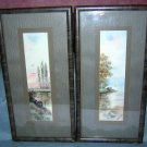 Pair Errington signed watercolors landscape great vintage frames AL1019