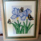 Irises & butterflies signed numbered framed print silkscreen AL1021