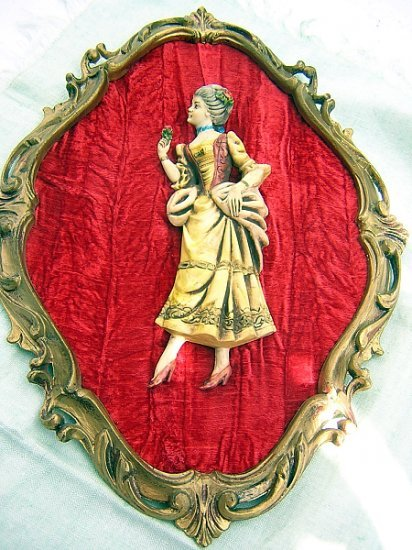 Wall plaque Celluloid lady on crushed velvet in Rococo frame antique AL1150