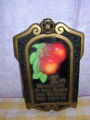 1971 Miller Studio chalkware wall plaque apples & motto AL1166