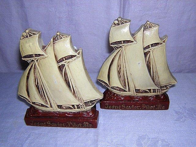 Jesus Savior Pilot Me bookends pair of chalk tall ships vintage AL1171