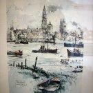 Antwerp Harbor Gezicht op Antwerpen framed lithograph by Jan Korthals vintage AL1258