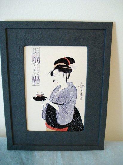 Japanese print woman serving tea framed ready to hang AL1308