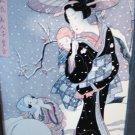 Japanese print mother and children in snow storm framed ready to hang AL1309