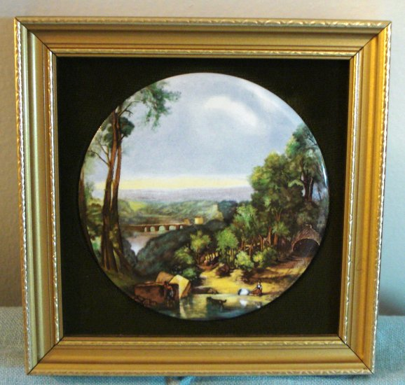 Crossing the Brook by Turner Harleigh China Staffordshire Ceramic framed miniature picture AL1440