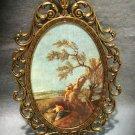 Brass framed oval print Italian hunting scene Made Italy vintage prints AL1457