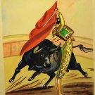 Palestino watercolor Toreador bull bullfight original AL1674