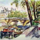 Puillery lithograph Paris Le Pont Neuf 1960s signed in print AL1678