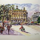 Puillery lithograph Paris L'Opera 1960s signed in print AL1679
