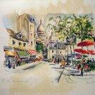 Puillery lithograph Paris Sacre Coeur de Montmartre 1960s signed in print AL1681