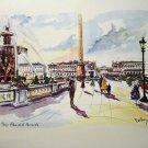 Puillery lithograph Paris Place de la Concorde 1960s signed in print AL1683