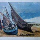 Gustav Courbet print Barques de Peches sur la Plage de Deauville 1960 France vintage AL1719