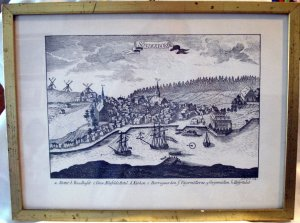 Sonderborg map woodcut framed print plate signed I G Fridrich AL1730