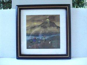 Original watercolor signed Elie rural Asian life laundry framed charming AL1474