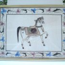 Handpainted carousel horses on silk pair framed vintage AL1476