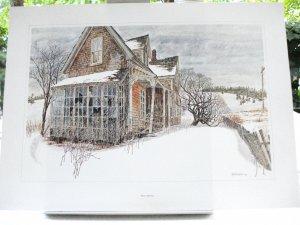 Bruce Johnson lithograph abandoned house derelict building AL1486