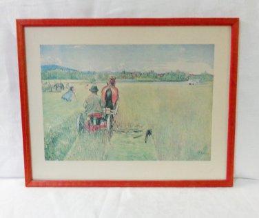 Carl Larrson framed print Haying vintage ready to hang AL1465