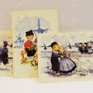 3 Art postcards Dutch children traditional costumes windmills sailboats unused vintage AL1514