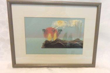 Original island collage natural materials framed matted signed 3D AL1525