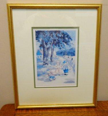Paquin art print framed Les Pecheurs children going fishing AL1530