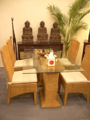 Bali Living Rattan Dining Set Royal Table with 4 chairs bundle set Sin$899