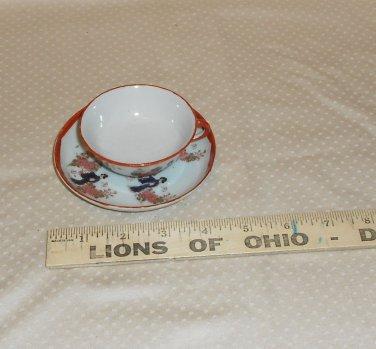 VINTAGE JAPANESE GEISHA GIRL TEA CUP AND SAUCER PORCELAIN  UNMARKED