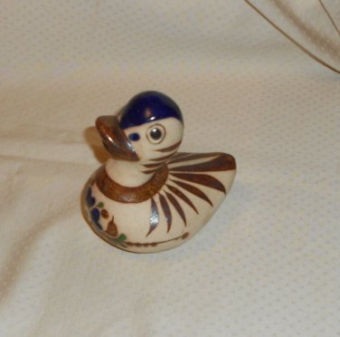 "FOLK ART TERRACOTTA POTTERY DUCK 4 1/2"" MEXICO BLUE & BROWN"