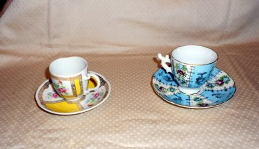 """ESPRESSO OR  DEMITESE """" 2"""" CUPS BLUE UNMARKED YELLOW AVON MADE GERMANY 1985"""