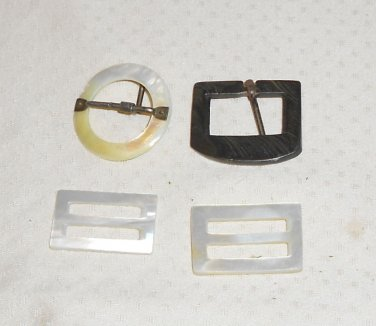 BELT BUCKLES VTG. ASSORTED,WHITE AND RAINBOW LIKE POSSIBLY MOTHER OF PEARL
