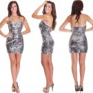 Stock silver sequins short mini clubwear cocktail party women' Club dresses