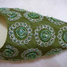 Classique Green Embroidered/Beaded Open Backed court shoes US 8