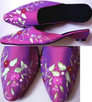 Classique Mauve/Pink Embroidered Open backed court shoes US 7.5