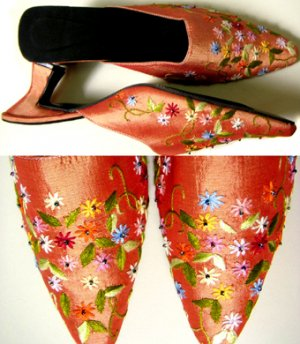 Classique Embroidered/Beaded Open backed court shoes US 6.5