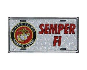 Semper Fi Veteran Metal License Plate - NEW! $3 shipping
