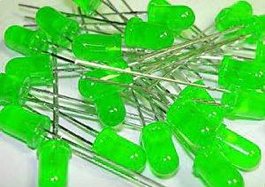 20 LEDs, Green, General Purpose, 5mm T-1 3/4,