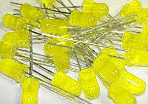 20 LEDs, Yellow, General Purpose, 5mm T-1 3/4