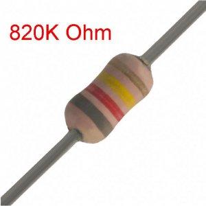 25 PCS 1/4W, 820K Ohm,  5% Carbon Film Resistors