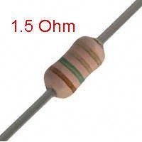 25 PCS 1/4W, 1.5 Ohm,  5% Carbon Film Resistors