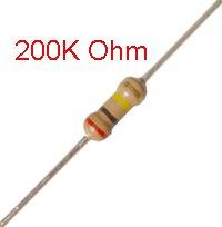 25 PCS 1/4W, 200K Ohm,  5% Carbon Film Resistors