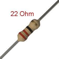 25 PCS 1/4W, 22 Ohm,  5% Carbon Film Resistors