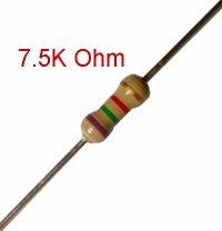 25 PCS 1/4W, 7.5K Ohm,  5% Carbon Film Resistors