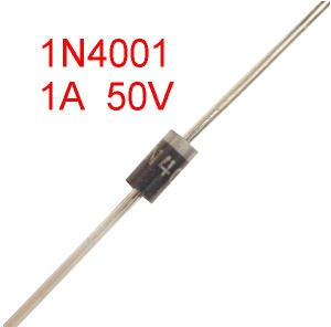 20 Diodes, 1N4001, 1Amp, 50V, Axial, DO-41
