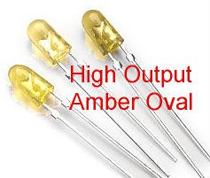 20 LEDs, Amber, High Output, 5mm Oval