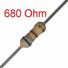 200 PCS 1/4W, 680 Ohm,  5% Carbon Film Resistors