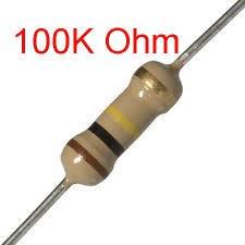 25 PCS 1/4W, 100K Ohm,  5% Carbon Film Resistors