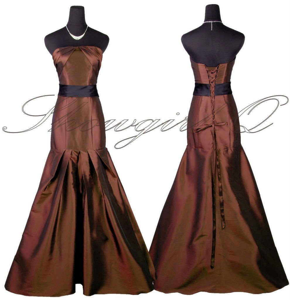 5425 EVENING DRESS PROM BALL GOWN BROWN BRIDESMAID
