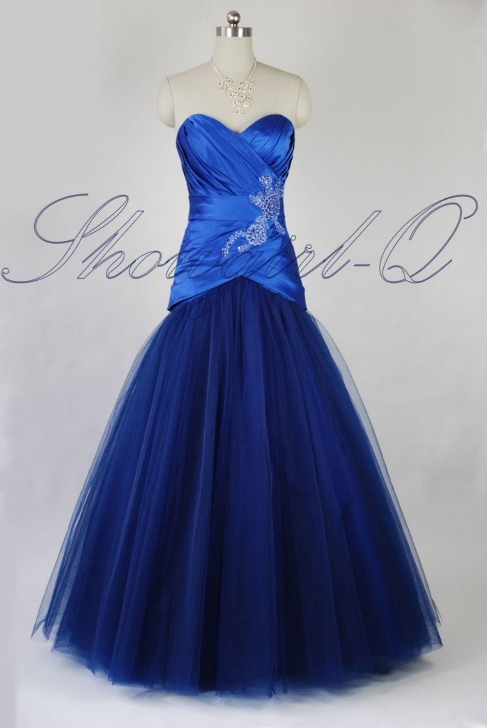 QPID BLUE  EVENING DRESS PROM BALL GOWN BRIDESMAID